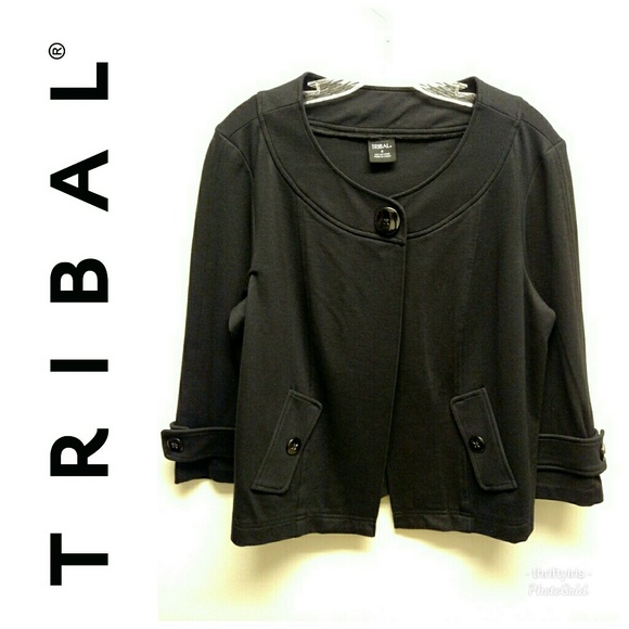 Tribal Jackets & Blazers - Tribal Black Jersey Jacket-Sz. 8